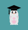 smart bunny wearing graduation cap template vector image vector image