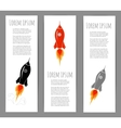 Three banners with space rocket launch vector image