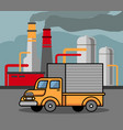 truck passing by the factory vector image