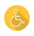 wheelchair flat linear long shadow icon vector image vector image