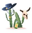 wild west cactus bull skull vector image