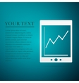 Tablet with business charts flat icon on blue vector image