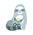 bashower cute sloth and raccoon cartoon vector image vector image