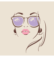 beautiful woman in glasses with earring vector image vector image