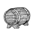 beer barrel in engraving style design element vector image