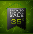 black pennant with back to school sale thirty five vector image vector image