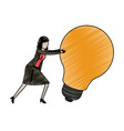 businesswoman pushing a big light bulb in pencils vector image vector image