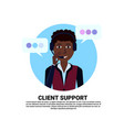 call center headset agent african woman client vector image vector image