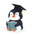 cartoon penguin reading book vector image vector image