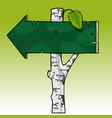cartoon wooden arrow index on a birch trunk vector image