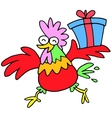 Chinese character rooster with gift vector image