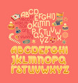 christmas alphabet xmas toys gifts and festive vector image vector image