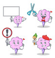 cotton candy character set with board sign barber vector image