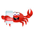 crab with milk on white background vector image vector image