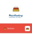 creative birthday cake logo design flat color vector image