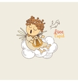 Cupid playing the harp vector image vector image