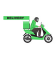 delivery sign with a green delivery scooter vector image vector image
