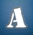 Denim jeans letter A vector image