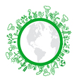 Eco symbols in green world vector image vector image