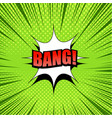 exploding comic green background vector image vector image