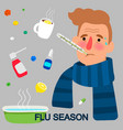 flu season cartoon concept vector image vector image