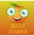 Funny cartoon orange in the eyeglasses vector image vector image