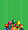 green background with colorful easter eggs vector image