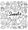hand drawn doodle sweets set vector image vector image