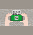 hand holding smart phone scanning qr code vector image