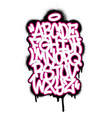 handwritten graffiti font alphabet et on white vector image