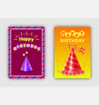 happy birthday postcards set vector image