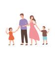 happy cartoon family walking enjoying weekend vector image