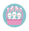 happy easter bunnies in basket icon vector image