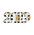 happy new year card black white number 2019 gold vector image vector image