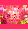 happy wedding calligraphy heart balloons and cake vector image