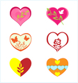 hearts with various plants vector image vector image