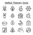 herbal therapy icon set in thin line style vector image vector image