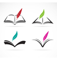 Image of an book and feather vector image