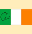 irish flag with shamrock outline vector image vector image