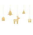 joy hand lettering gold hanging christmas tree vector image vector image