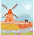 Landscape with windmill and tractor vector image