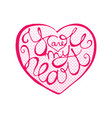 love lettering inside heart shape with halftone vector image