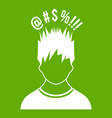man with different signs over his head icon green vector image vector image