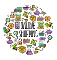 Online shopping circle vector image vector image