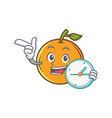 orange fruit cartoon character with clock vector image vector image