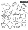 outlined kitchen dish set on white vector image vector image