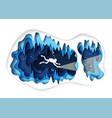 paper cut underwater sea cave with fishes and vector image vector image