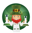 Portrait of Leprechaun Scientist holding flask vector image vector image