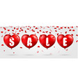 red heart background with sale vector image vector image