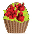 Red roses in basket vector image vector image
